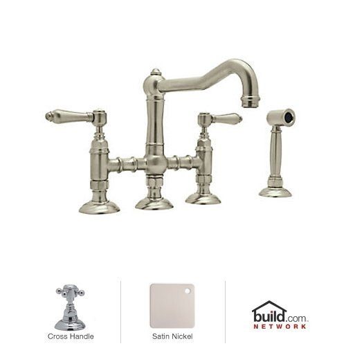 Rohl A1458XMWSSTN-2 Country Kitchen Three Leg Bridge Faucet with Metal Cross Handle, Satin ()
