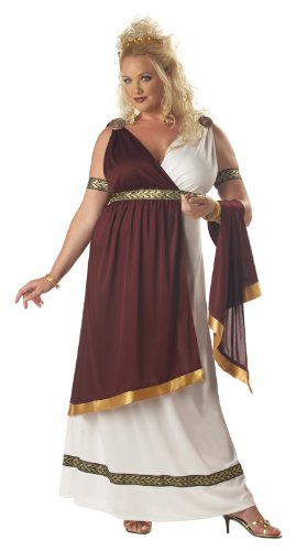 California Costumes Women's Plus-Size Roman Empress Plus, White/Burgundy, 1XL (16-18)