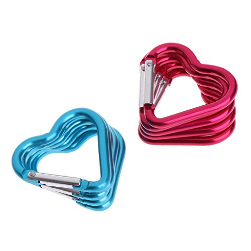Yuuups Keychain Heart Shaped/Round Shape/Fish Shape Aluminum Alloy Locking Mounting Carabiner Snaphook Hook -