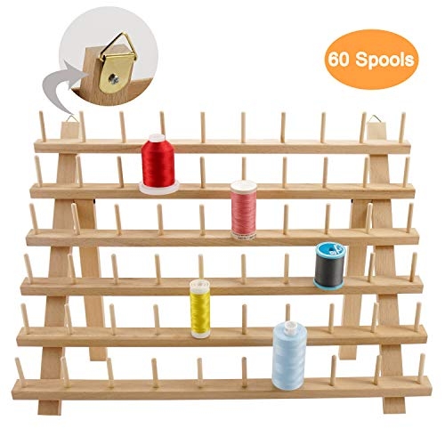 New brothread 60 Spools Wooden Thread Rack/Thread Holder Organizer with Hanging Hooks for Embroidery Quilting and Sewing Threads (Floss Rack)