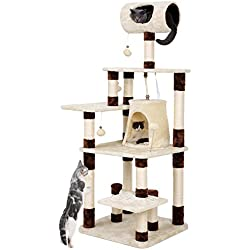 SONGMICS Cat Tree Condo Multi-Level Kitty Tower Play House with Tunnel and Scratching Post Brown and Beige UPCT55Z