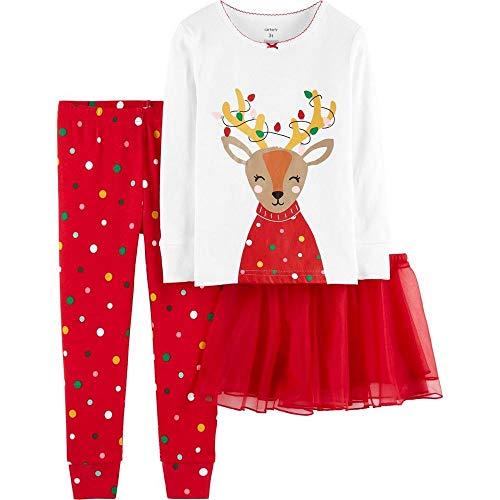 Carters Toddler Girls Holiday Christmas Reindeer Tutu Pajama 2 Piece Set (5T),Red Reindeer (Best Christmas Pajamas 2019)