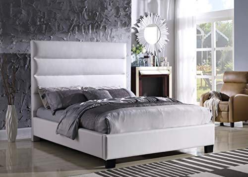 Best Master Furniture 102 Laney Simple Faux Leather Platform Bed, Cal. King, White