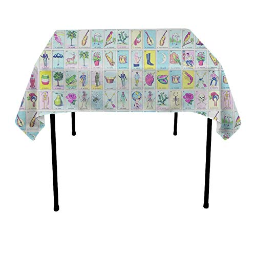 JACINTAN Tablecloth Square Polyester Table Cover - Wedding Restaurant Party Banquet Decoration, Loteria, 52x52 -