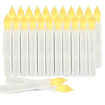 """Homemory Set of 24 LED Flameless Taper Candles, 6.5"""" Tall Tapered Candlesticks Battery Operated, Warm Yellow Flickering Flame"""