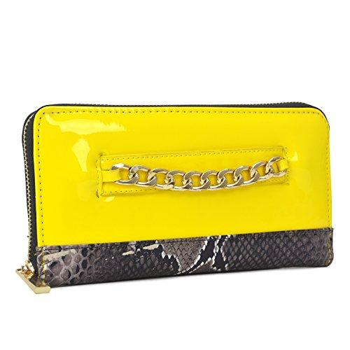(Dasein Women's Fashion Wallet Patent Leather Clutch Wallet Card Holder Organizer Ladies Purse (1-snake skin-yellow) )