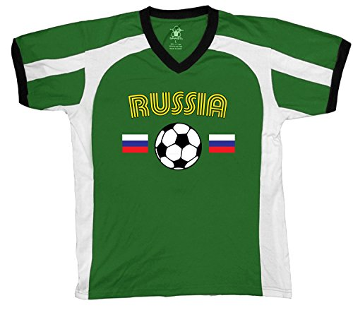 fan products of Russia Soccer / Football and Flag Men's Soccer Style Sport T-Shirt, Amdesco, Kelly/White/Black XL