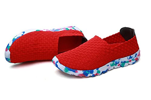 Unisex amp; Fashion Women's Shoes Men's Casual Hand Shoes 2018 Red Sport New Woven xt0qwEnI6