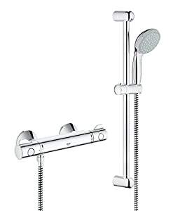 grohe grohtherm 800 shower thermostat with tempesta shower set 600mm shower rail