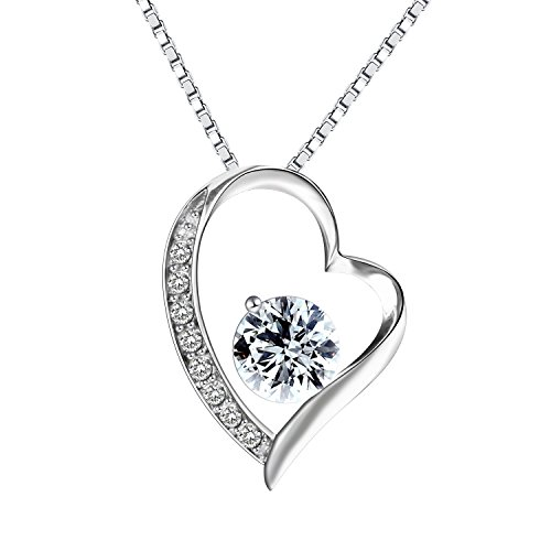 Pealrich 925 Sterling Silver Forever Love Heart Diamond Pendant Necklace,Gift for Women