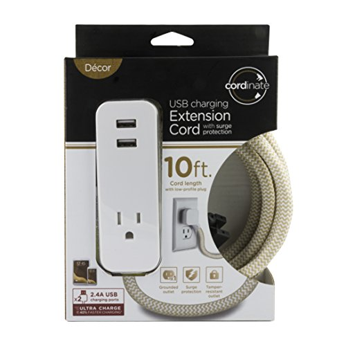 Cordinate Designer Polarized Outlet Extension Cord with Surge ...