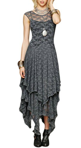 Alion Women Belle Poque Steampunk Victorian Gothic Lace Swing Dress Maxi Dress