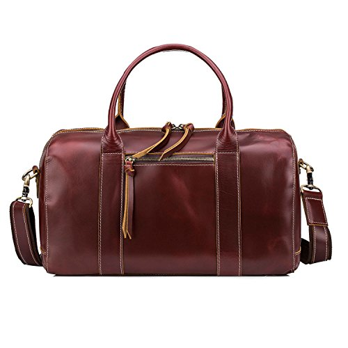 Huntvp Mens Leather Travel Duffel Overnight Hand Luggage Tote Shoulder Bags by Huntvp