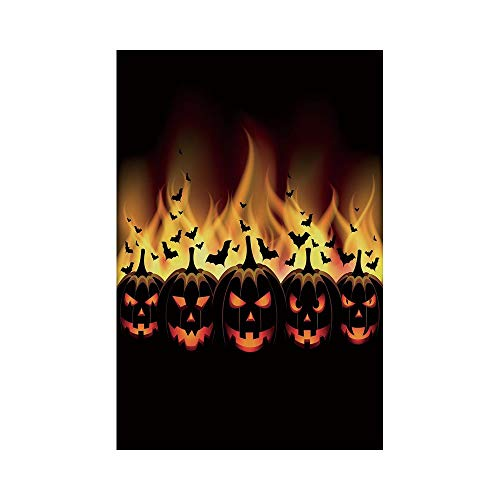 Polyester Garden Flag Outdoor Flag House Flag Banner,Vintage Halloween,Happy Halloween Image with Jack o Lanterns on Fire with Bats Holiday Decorative,Black Scarlet,for Wedding Anniversary Home Outdoo ()