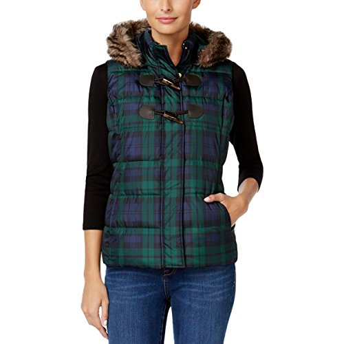 Charter Club Womens Plaid Puffer Outerwear Vest Green S