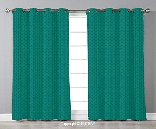 Grommet Blackout Window Curtains Drapes [ Teal,Knitting Inspired Pattern Sewing and Crafting Hobby Themed Design Monochrome Image Print,Teal ] for Living Room Bedroom Dorm Room Classroom Kitchen Cafe (Best Sewing Classes Nyc)