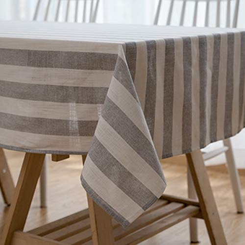 Aquazolax Tablecloth Cotton Linen Rectangle Dust-Proof Stripes Woven Table Cover for Kitchen Dinning Tabletop Linen Decor, 54 x 54 inch, Grey