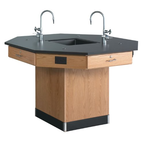 Diversified Woodcrafts 1616K Solid Oak Wood Octagon Workstation with Pedestal Base and Epoxy Resin Top, 62
