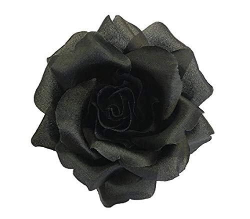 Silk Rose Flower Pin Brooch Black Silk Flower Hand-made in New York's Garment Center (American - Black Brooch Dress