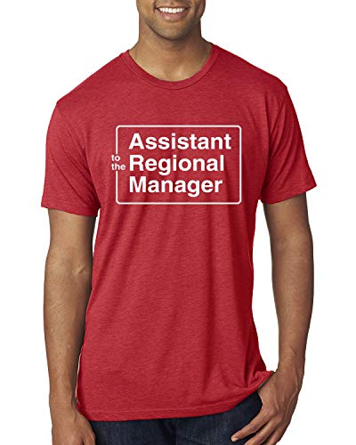 Assistant to The Regional Manager Office Quote | Mens Pop Culture Premium Tri Blend T-Shirt, Vintage Red, Large