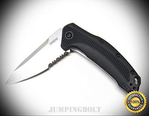 Black Handle Link Assisted Folder Serrated Folding Pocket Knife 1776ST - Premium Quality Very Sharp EMT EDC