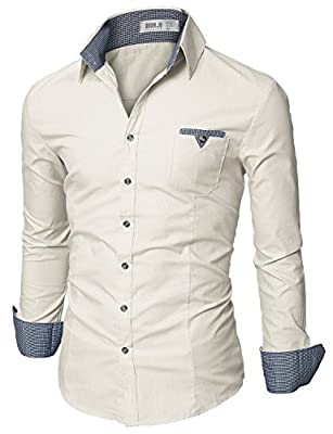 Doublju Mens Slim Fit Cotton Flannel Long Sleeve Button Down Shirts