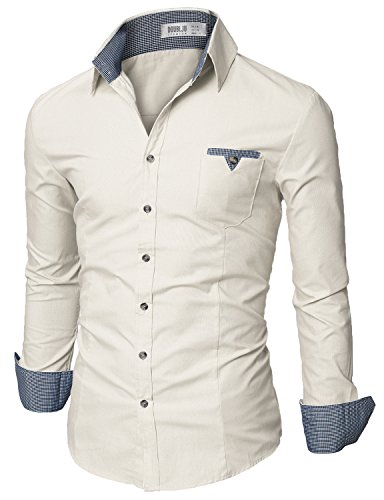 (Doublju Mens Fitted Button Down Checkered Casual Shirt, Beige X-Large)