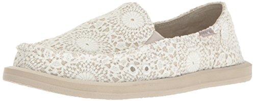 Sanuk Women's Donna Crochet Loafer Flat, White/Oatmeal, 09 M US (Donna Womens Shoes)