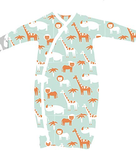 2 Pk 100% Organic Cotton Kimono Gown Boy Girl with Easy Change Snaps and Built in Mitts, Retro Whales and Zoo Animals (3-6 Months)