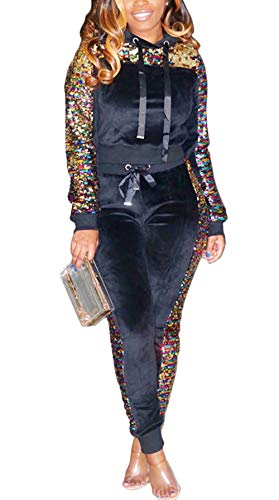 Women 2 Piece Outfit Sequin Glitter Stitching Fleece Velvet Pullover Hoodie and Long Pants Tracksuits Jumpsuits M Black