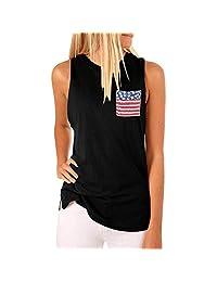 Women's Sleeveless High Collar Flag Pocket Independence Day Tank Top