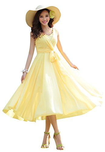 Dress Skirt Chiffon Prom Full (ilishop Women's Sleeveless Pleated Prom Party Chiffon Hot Summer Long Dress Yellow S)