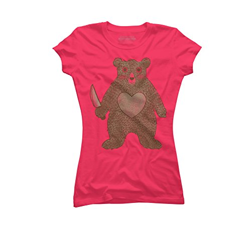 Design By Humans I Love You Bear Juniors' 2X-Large Hot Pink Graphic T Shirt -