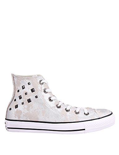 Silver All Leather Sneakers Hardware Star argento Converse Taylor Women's 100 Chuck OwtYtS