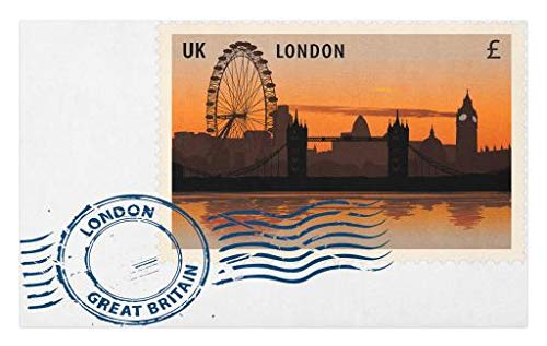 Originals Postmark (Lunarable London Doormat, England Great Britain Vintage Postmark with Night Sight of London Cityscape Print, Decorative Polyester Floor Mat with Non-Skid Backing, 30 W X 18 L inches, Multicolor)