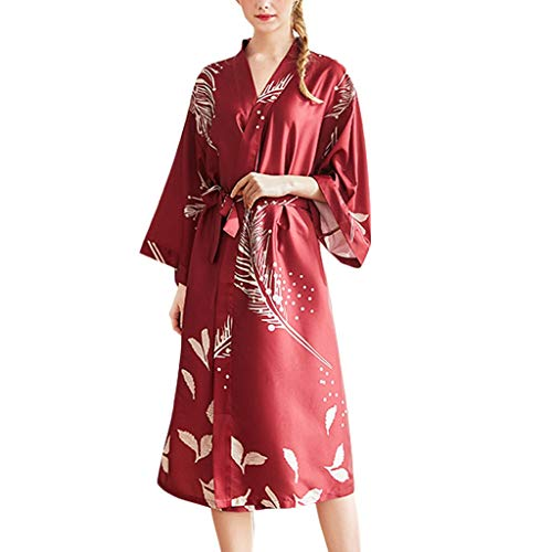 Quelife Women Bathrobe Sexy Satin Long Silk Kimono Leaf Print Sleepwear Bath Robe Nightwear Wine Red