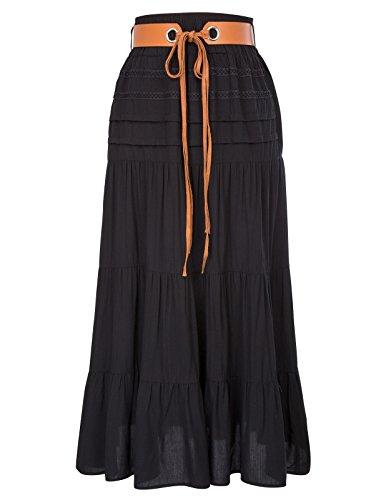 c549ff7fe2 Kate Kasin Womens Bohemian Gypsy Belted Elastic High Waist Comfy Boho Skirt  KK000857