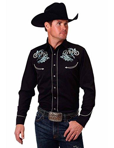 Roper Floral Shirt - Roper Western Shirt Mens L/S Floral L Obsidian 03-001-0040-0205 BL