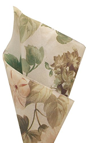 Rustic Cottage Garden Printed Tissue Paper For Gift Wrapping With Floral Design