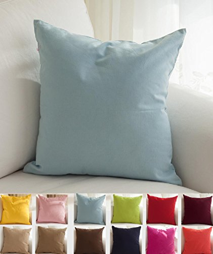 "TangDepot Cotton Solid Throw Pillow Covers, 16"" x 16"" , Ligh"