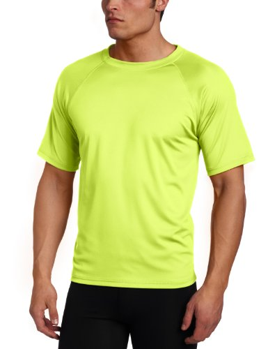 Kanu Surf Men's Solid Rashguard UPF 50+ Swim Shirt, Neon Yellow, (Yellow Mens Rash Guard)
