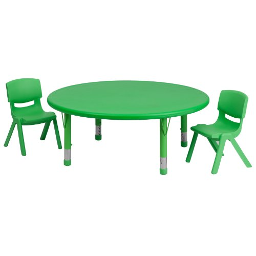 "Flash Furniture 45"" Round Green Plastic Height Adjustable Activity Table Set with 2 Chairs Review"