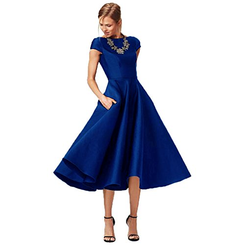 (Fashionbride Women's Formal Evening Gown Satin Short Sleeve Tea-Length Mother of The Bride Dress Royal Blue-US16)