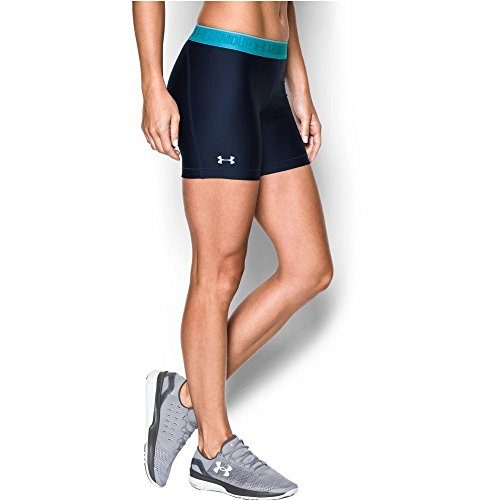 "Under Armour Women's HeatGear Armour 5"" - Shine Waistband Shorts, Midnight Navy/Island Blues, X-Small"