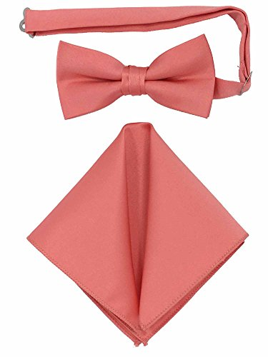 - Spencer J's Men's Bowtie and Pocket Square Set Verity of Colors (Coral)