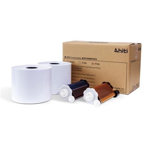 HiTi Ribbon and Paper Case for P750L Photo Printer, 2x5x7'' Rolls, 1200 Prints Yields
