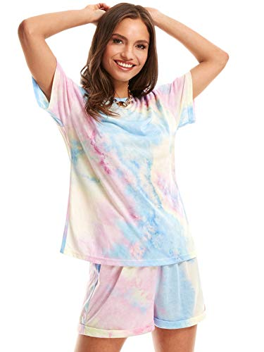 SweatyRocks Women's Short Sleeve 2 Piece Outfit Round Neck Tee with Shorts Set Blue Pink L