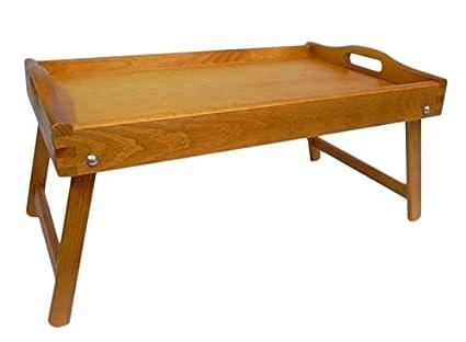 Bandeja de cama – Bandeja de madera desayuno en la cama de servir con patas plegables