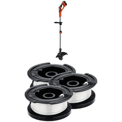 Black & Decker LST136W 40V Max Lithium String Trimmer and Replacement Spool 3-Pack Bundle by BLACK+DECKER
