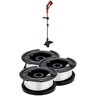 Black & Decker LST136W 40V Max Lithium String Trimmer and Replacement Spool 3-Pack Bundle